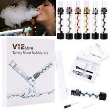 Compact Mini Twisty Glass Blunt Smoking Pipe Obsolete Bubbler Set w/ Accessories