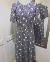 Vintage Blue and White Patterned Belted Tea Dress Midi Length Size 14 to Fit 10