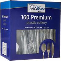 320 Silver Plastic Cutlery -  Knives, Forks & Spoons