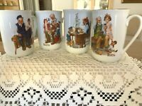 Vintage 1982 Norman Rockwell Museum Collection Set of 4 Tea/Coffee Mugs