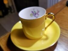 VICTORIA CZECHOSLOVAKIA SMALL DEMITASSE CUP & SAUCER YELLOW  COLOR