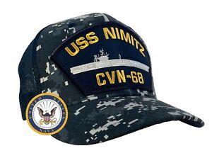 USS Nimitz Hat CVN-68 Mesh Back Trucker Digital Blue w/FREE STICKER