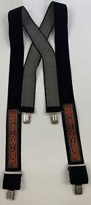"Harley Davidson Suspenders Leather Tool Orange w/Black Elastic 2"" Wide EUC"