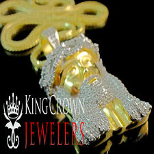 Solid Yellow Gold Over Sterling Silver Lab Diamond Jesus Pendant & Bead Chain
