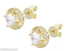 Cz Stone Fashion Stud Earrings Gm-147 Ladies 18k Sterling Silver Gold Finish