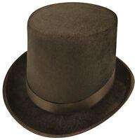 Gentlemans Velour Black Top Hat Lincoln Halloween Ringmaster Fancy Dress
