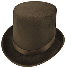 Gentlemans Velour Black Top Hat Lincoln Halloween Ringmaster Fancy Dress
