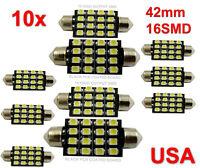 10x 42mm Car Interior 16 SMD White Led light 3528 Dome lamp Bulb 211-2 578 212-2