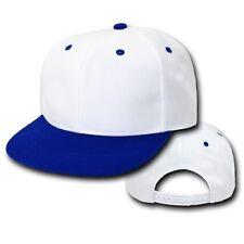 White Royal Blue Vintage Flat Bill Snap Back Snapback Baseball Cap Caps Hat Hats