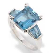 Sterling Silver 4.97ctw London Blue Topaz 3-Stone Ring, Size 7