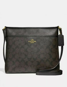 BNWT COACH FILE BAG IN SIGNATURE BROWN AND BLACK F29210