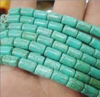 """6x9mm Green natural turquoise barrel loose beads 15"""" AAA PL31"""