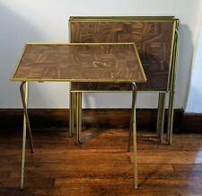 4 x Vintage TV Tray Tables Faux Wood Trays Detachable Metal Legs Folding