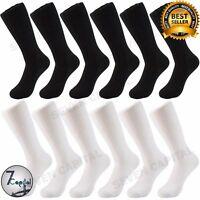 3 6 9 12 Pairs Men Sold Plain Black White Cotton Formal Dress Socks Size 10 - 13