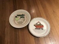 2 VINTAGE CHINA CERAMIC APPLE AND CHERRY RECIPE PIE PLATE BAKING DISHES