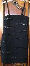 INC Bodycon Size 4 Spaghetti Strap/Strapless Dress Black Sequin EUC