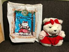 Dayton Hudson 1995 Miss Bear Christmas White Teddy Bear Red Bow 95 Holiday w Bag