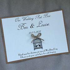 Handmade Personalised Wedding Post Box Sign Birdcage Well Vintage Kraft Twine