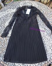 Black Zara Contrasting Lace Dress XS Extra Small 6 New Pleated