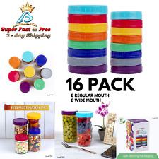 Colored Plastic Mason Jar Lids For Canning Jars Regular Regular & Wide 16 Pack