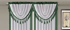 AMY 1PC Hunter  White Faux Silk Rod Pocket Swag Waterfall Dressing Valance