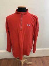 Under Armour Quarter Zip Pullover Size Medium Mens Orange Sweater Fleece