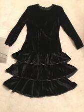Jaeger Black Dress 12 Cocktail Velvet Vintage Short 46 Inch Layers Satin Edge