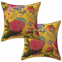 """Home Decor Kantha Throw Pillows Cover Indian Cotton Cushion Cover Set OF 2ps 16"""""""