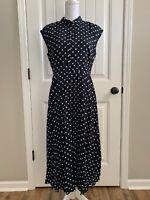 New JCrew Midi Shirtdress with Pleated Skirt in Dot Print Navy Ivory Sz10 AC891