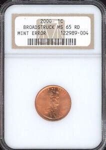2000 Lincoln Cent Mint Error Broadstruck NGC MS65 RD