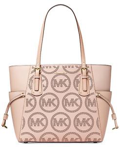 Michael Kors Voyager Large Tote Bag MK Logo Monogram Soft Pink Leather SEALED