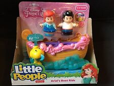 Fisher Price Little People Disney Princess Ariel Eric Boat Ride New