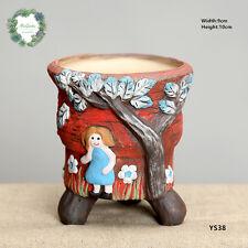 Tall creative concrete planter/Little girl pattern