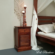 Balinese Hand Carved Teak Wood Chestnut Shutter Door Bedside table Side Table