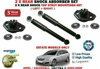 FOR OPEL VAUXHALL VECTRA C Estate 2002-2008 2X REAR SHOCK ABSORBERS + TOP MOUNTS