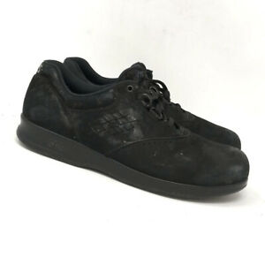 SAS Womens Free Time Black Suede Leather Comfort Shoes Lace Up Low Top Size 8
