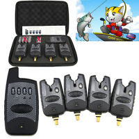 One Set of 4 Wireless Bite Alarms + Receiver + Protective zip up case 2018