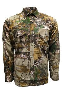 Men's Long Sleeve Jungle Print Shirt Camouflage Hunting Fishing Cotton M-2XL