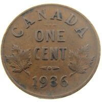1936 Canada One 1 Cent Penny Copper Canadian Circulated George V Coin P454