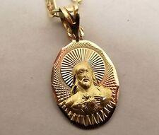 Vtg 10K Tri Gold Sacred Heart Jesus Christ Medal Pendant Necklace Chain Catholic