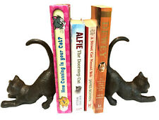 Cast Iron Stretching Cat Brown Rustic Book Ends Book Ends Shelf Sitter Vintage