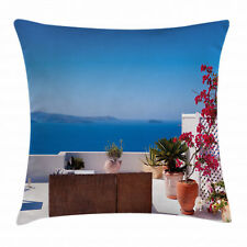 Seascape Throw Pillow Case Santorini Aegean Sea Square Cushion Cover 16 Inches
