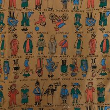 Vintage 1960's Crompton-Richmond People Countries  Novelty Cotton  Fabric 2 yd+