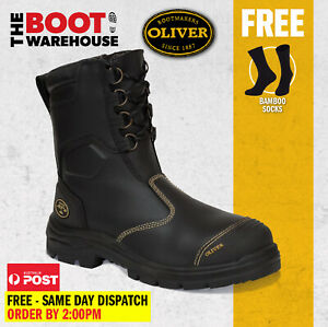Oliver Work Boots 55380, Black Steel Toe Safety High Leg, Zip Side Riggers Boot