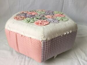 Fabric Foot Stool with Rosettes Gingham Country Chic Pastel Colors Hexagonal