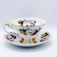 Vtg Japanese Hand Painted Gold Detailed 3 Footed Eggshell Porcelain Cup Saucer