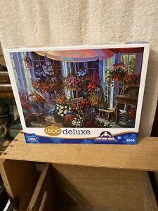 """Mega Brands 1500 Piece Deluxe Puzzle: Flower Shop 22.50"""" x 32.75"""" EUC"""