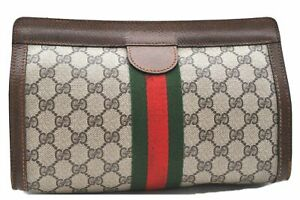 Authentic GUCCI Web Sherry Line Clutch Bag GG PVC Leather Brown 0814A
