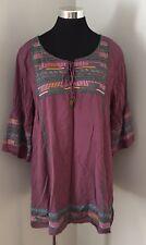 Urban Mangoz Purple Beaded Tunic Top Shirt Women's Size XL NWT