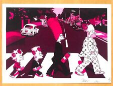 USA Death NYC lithographic print 'Family Simpson on Abbey Road' - sign+nr - COA